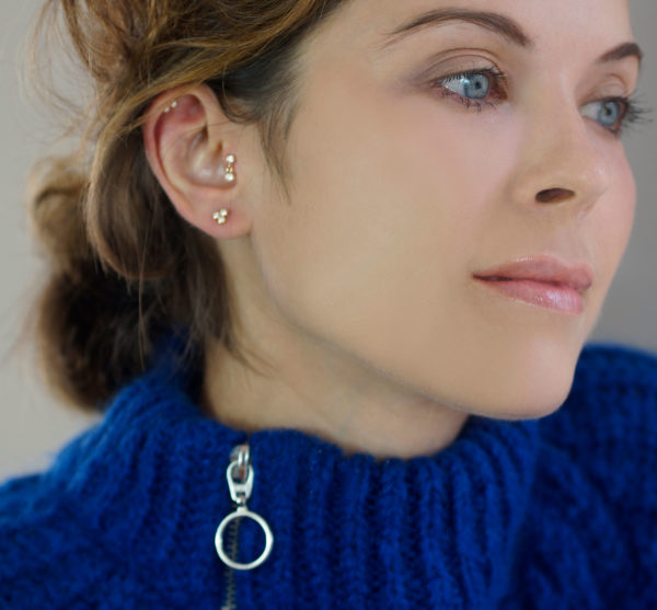 Ear Styling with Piercing Jewellery by Lena Cohen. Personal service. Free delivery. Made from 18k gold and natural gemstones. Based in London.