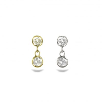 Diamond Duet 18k Yellow Gold Piercing Stud