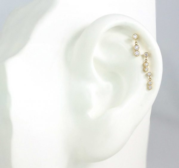 Luxury Ear Piercing Jewellery in London Lena Cohen Unique Designs Created Crafted By Master Goldsmiths Using Natural Stones