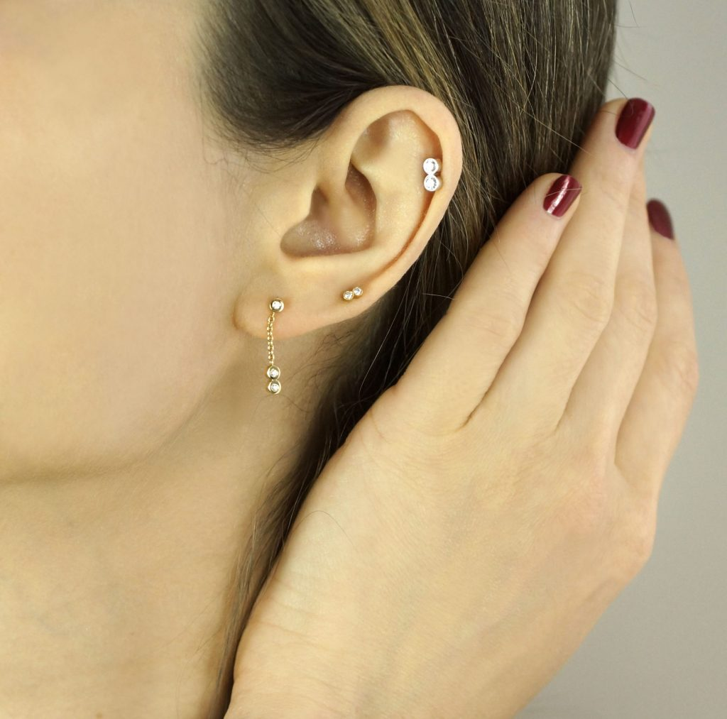 Luxury Ear Piercing Jewellery in London Lena Cohen Unique Designs Hand Crafted By Master Goldsmiths