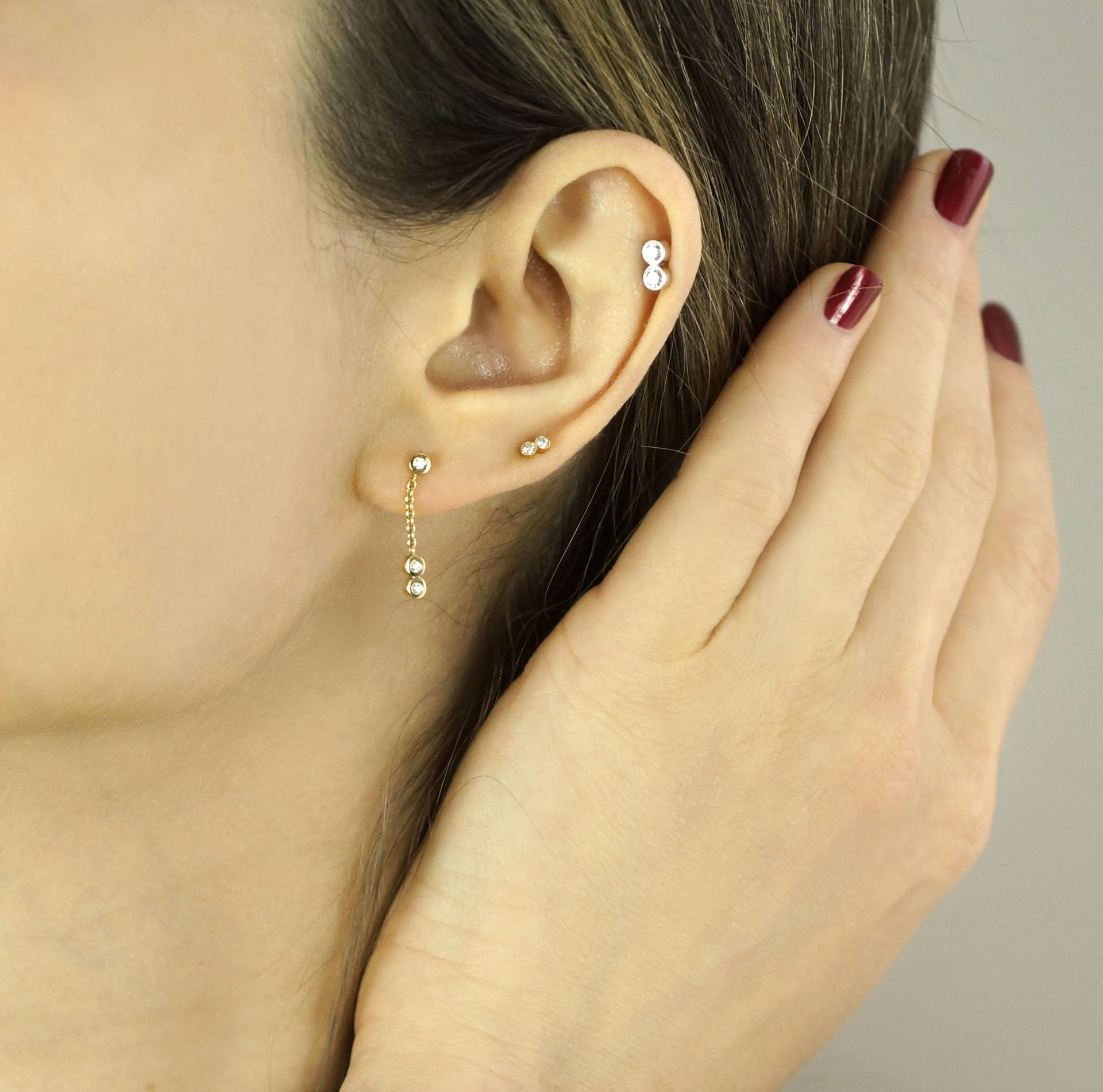 What type of jewellery should you buy for a curated ear? Luxury Ear Piercing Jewellery in London Lena Cohen Unique Designs Hand Crafted By Master Goldsmiths