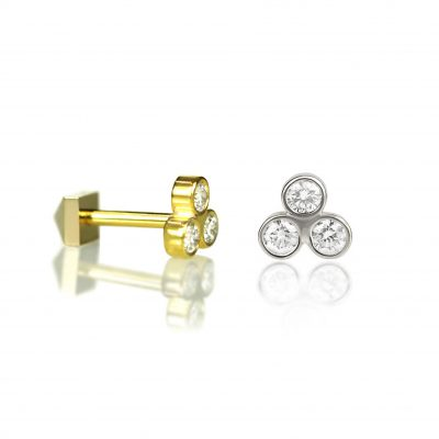 Troika 18k Gold Diamond Stud