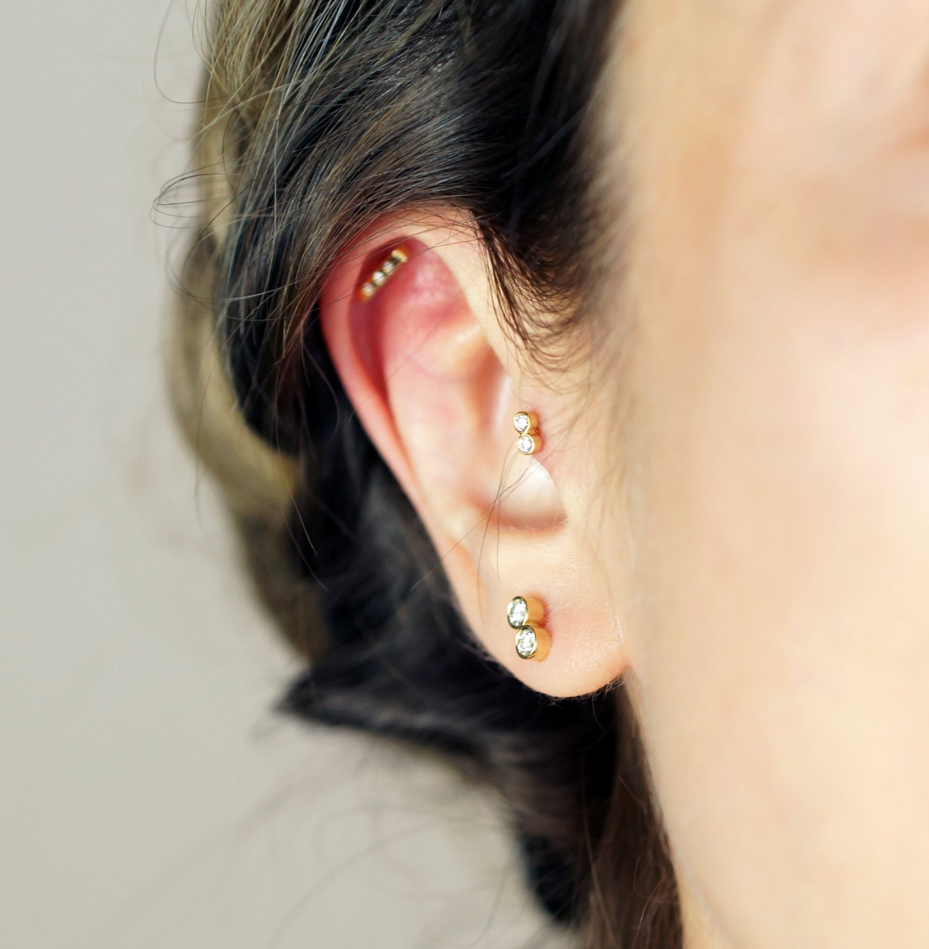 jewellery which can be styled, stacked and layered as you please Trendy Types of Ear Piercings and Combinations unique multiple ear piercings combination ideas
