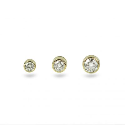 18K Solid Yellow Gold Single Diamond Cartilage Tragus Helix Lobe Piercing Stud Small