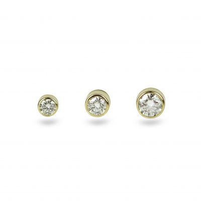 18k Yellow Gold Single Diamond Cartilage Tragus Helix Lobe Piercing Stud Medium