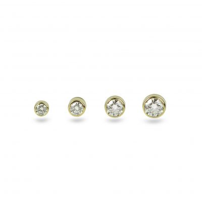 Yellow Gold Single Diamond Piercing Stud