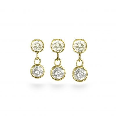 Diamond Dangle Piercing Stud 18k Yellow Gold Small Sizes
