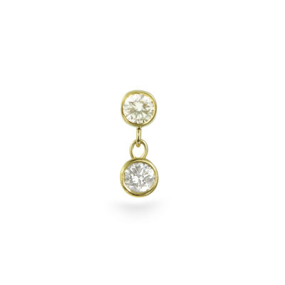 Duo Diamond Dangle Piercing Stud 18k Yellow Gold