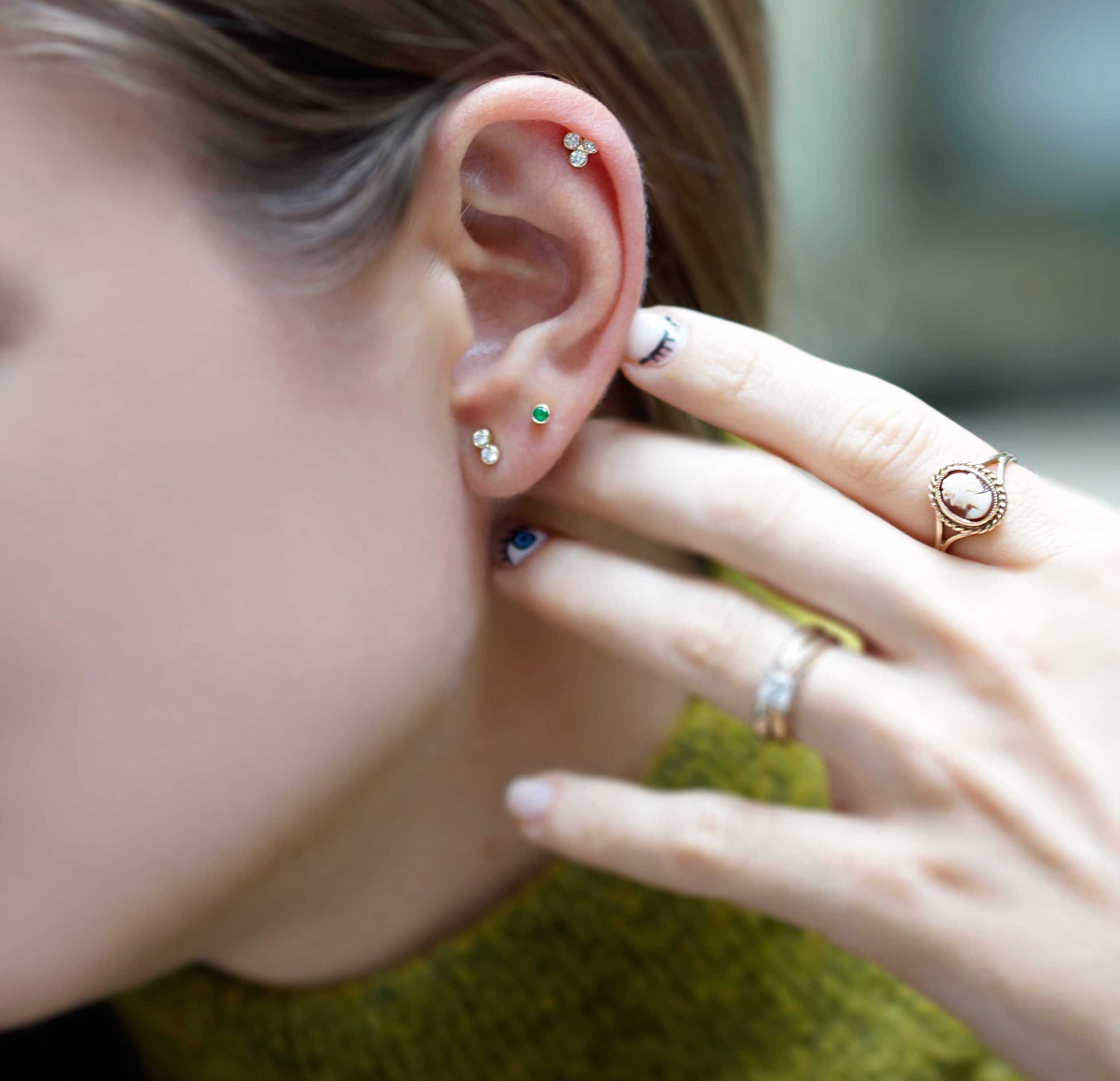 A simple helix and lobe pairing is a subtler way to get in on the trend.