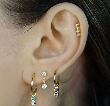 Diamond Duet 18k Gold Piercing Stud