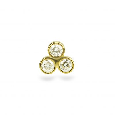 Triple Diamond Triangle 18K Yellow Gold Cartilage Piercing Stud Small Sizes