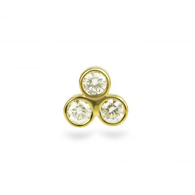Trio Diamond 18K Yellow Gold Cartilage Piercing Stud Medium Sizes