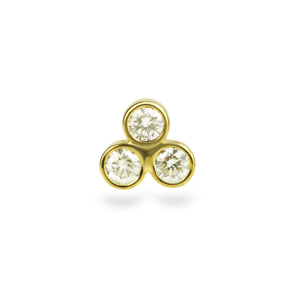 Triple Diamond Triangle 18K Yellow Gold Cartilage Piercing Stud