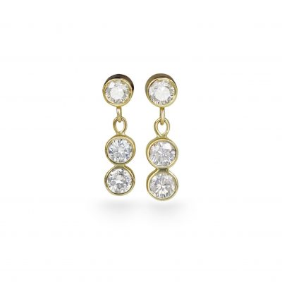 Trio Diamonds Dangle Piercing Stud 18k Yellow Gold Small Sizes