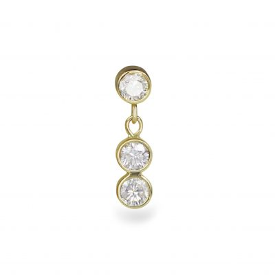 18k Yellow Gold Triad Diamond Piercing Stud