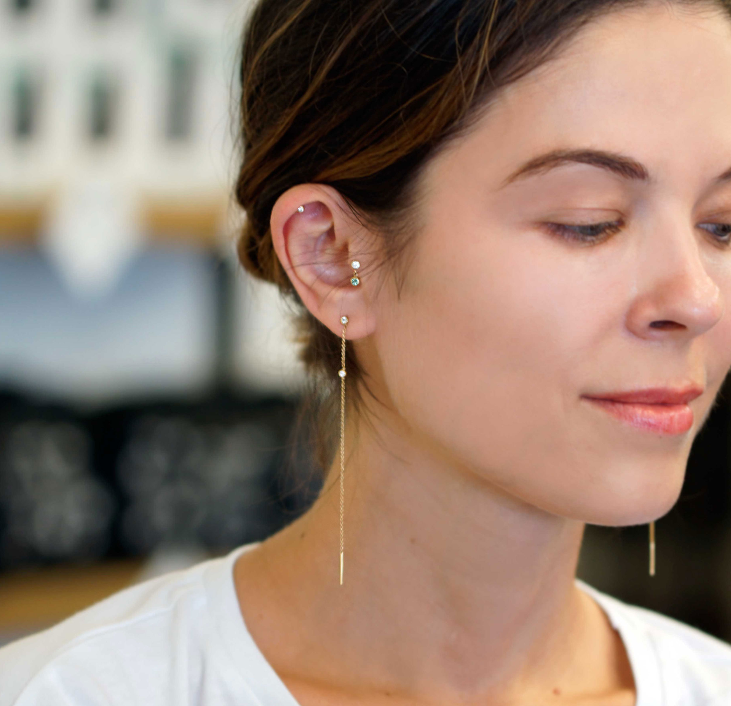 Free Delivery Solid 18k gold Precious stones Diamond Piercing Cartilage Earrings Solid Gold Piercing Earrings Helix earrings Tragus piercings The upper lobe piercings Rook Piercing Earrings Stacked Piercing