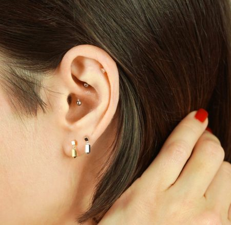 18k Yellow Gold Minimalist Cartilage Piercing Stud
