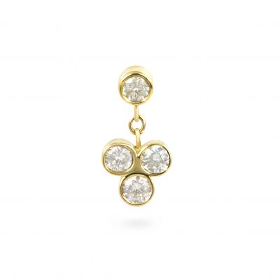 Dangling Trefoil 18k Yellow Gold Diamond Stud