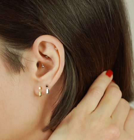 Minimalist Plain Yellow Gold Cartilage Piercing Stud