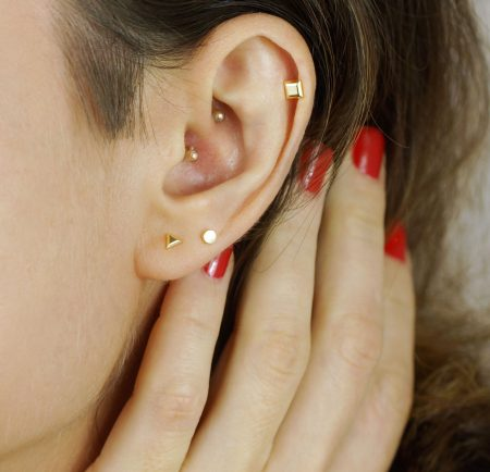 Yellow Gold Disc Minimalist Piercing Stud