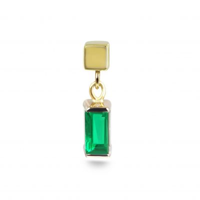 Dangling Baguette Emerald Threaded Stud Earring