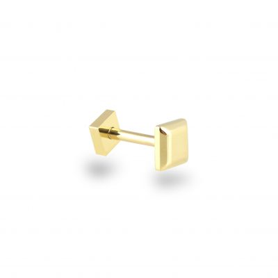 Plain 18k Yellow Gold Square Minimalist Screw Back Piercing Stud