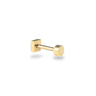 Minimalist 18k Yellow Gold Round Piercing Threaded Stud