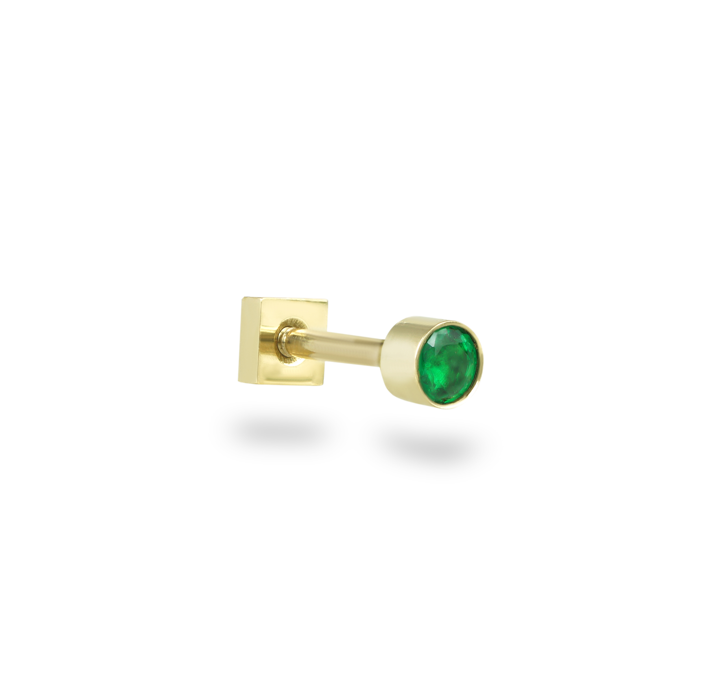 Yellow Gold Single Emerald Cartilage Tragus Helix Conch Lobe Piercing Earring Stud