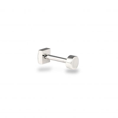 Plain18k White Gold Round Minimalist Screw Back Piercing Stud