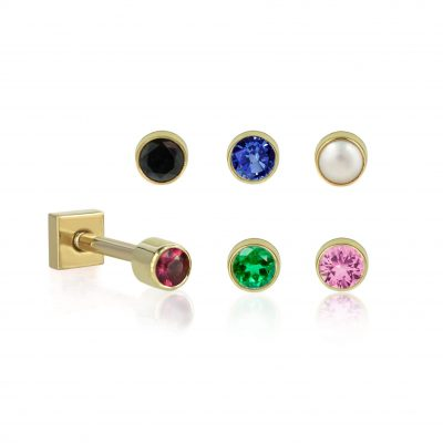 18k Gold Single Gemstone Piercing Stud