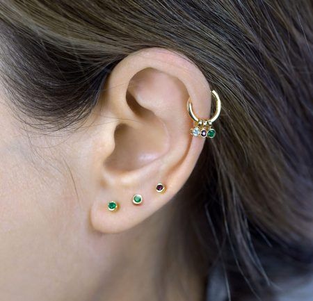 18k Gold Single Emerald/Ruby Piercing Stud