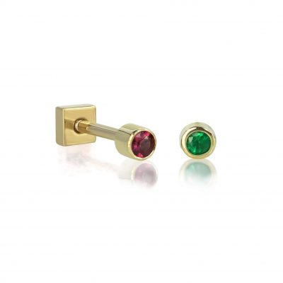 18k Gold Single Emerald Ruby Piercing Stud