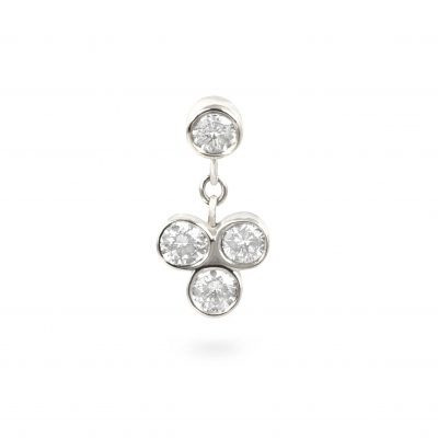 Dangling Trefoil White Gold Diamond Cartilage Earring