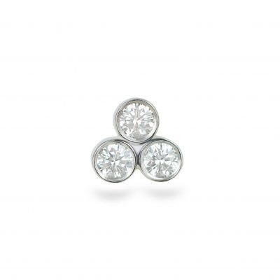 Trio Diamond 18K White Gold Cartilage Piercing Stud