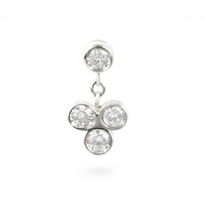 Dangling Diamond Raceme Cartilage Earring White Gold