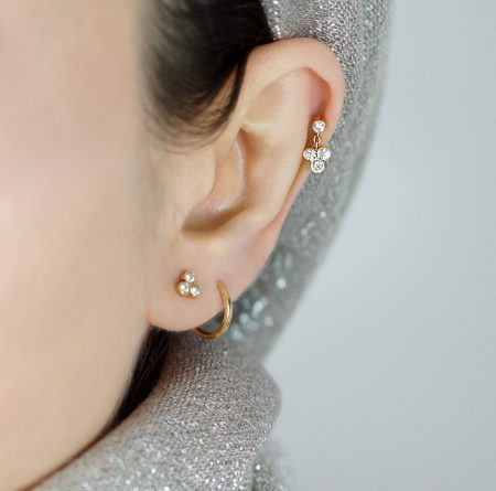 Dangling Trefoil 18k Gold Diamond Piercing Stud