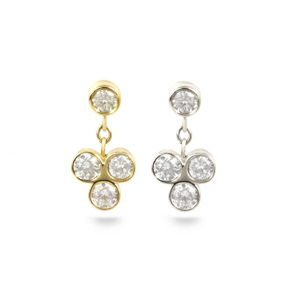 Dangling leave Diamond cartilage piercing earring handmade from 18k yellow white gold