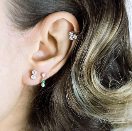 Emerald Sway 18k White Gold Diamond Piercing Stud