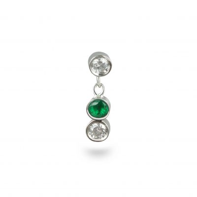 Two Diamonds One Emerald Dangle Piercing Stud 18k White Gold