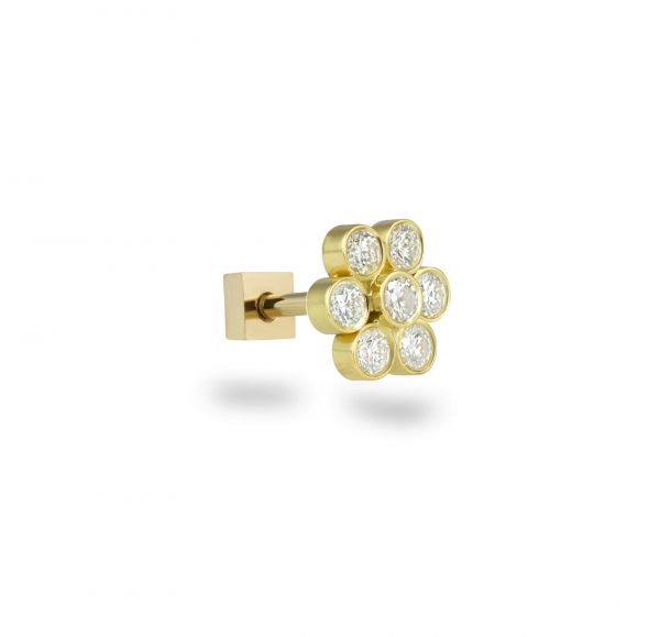 Seven high quality natural diamonds flower cartilage helix earring set in 18k yellow white gold