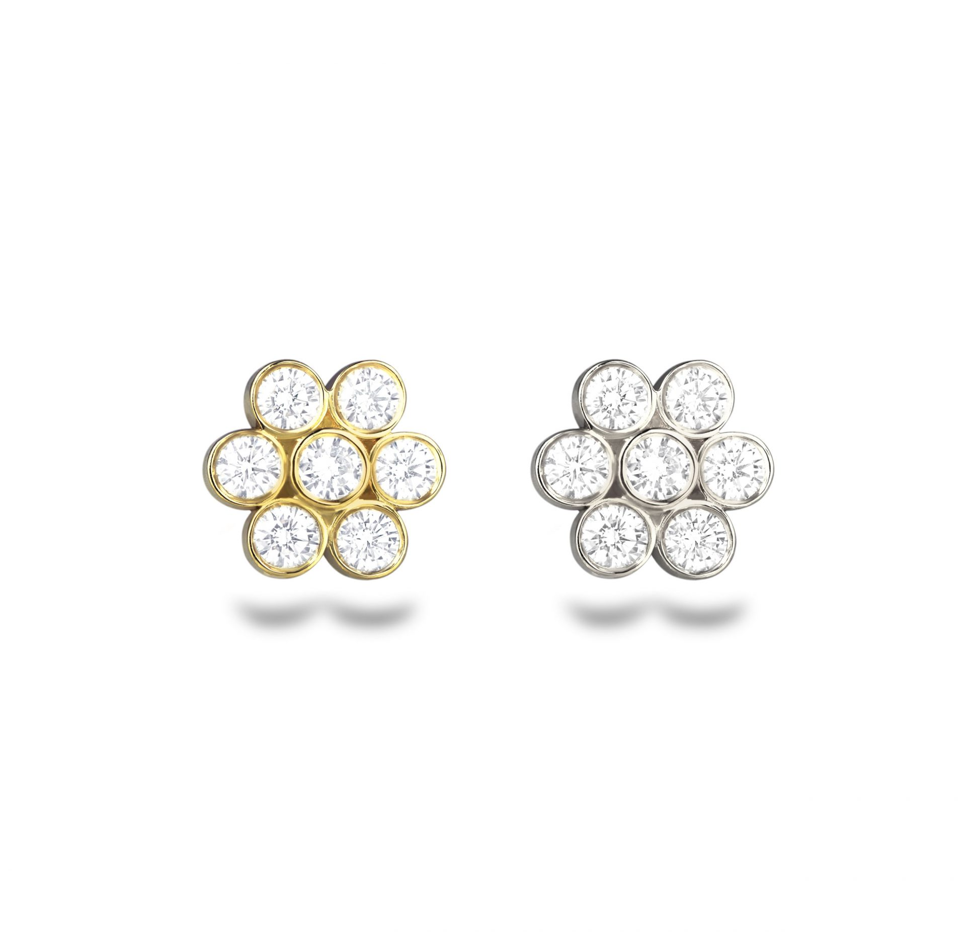 Seven-high-quality-natural-white-diamonds-flower-cartilage-helix-earring-18k-yellow-white-gold