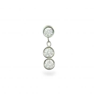Trio Diamond Drop Piercing Earring Stud 18k White Gold
