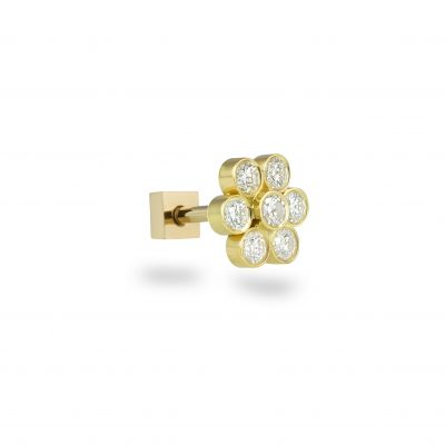 18k Yellow Gold Seven Diamonds Flower