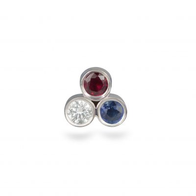 Tricolour Diamond Ruby Sapphire 18K White Gold Cartilage Piercing Stud
