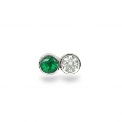 Yoter Emerald Diamond White Gold Stud