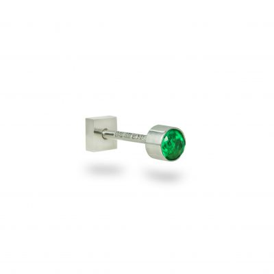 White Gold Single Emerald Piercing Stud