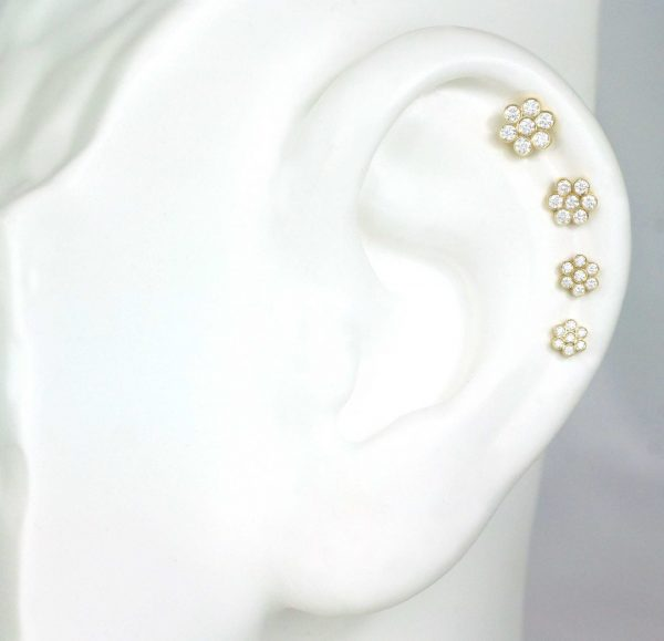 Seven high quality natural diamonds flower cartilage helix earring set in 18k yellow gold