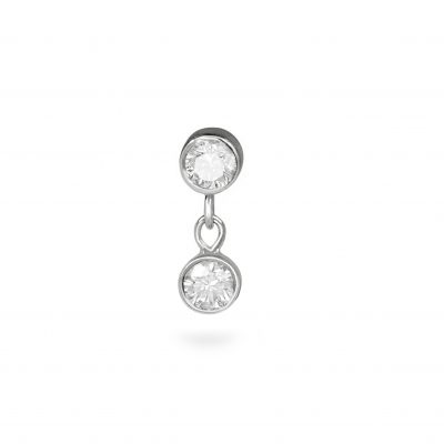 Double Diamond Dangle Piercing Stud 18k  White Gold