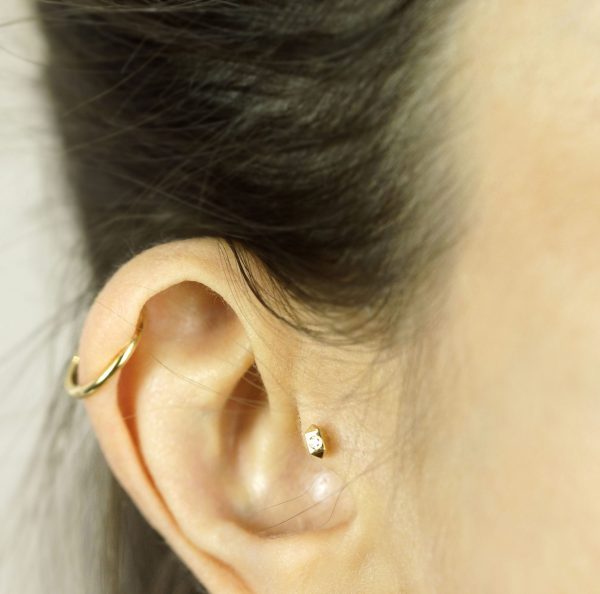 unisex piercing jewellery 18k gold diamonds men women ear piercings helix earrings lena cohen
