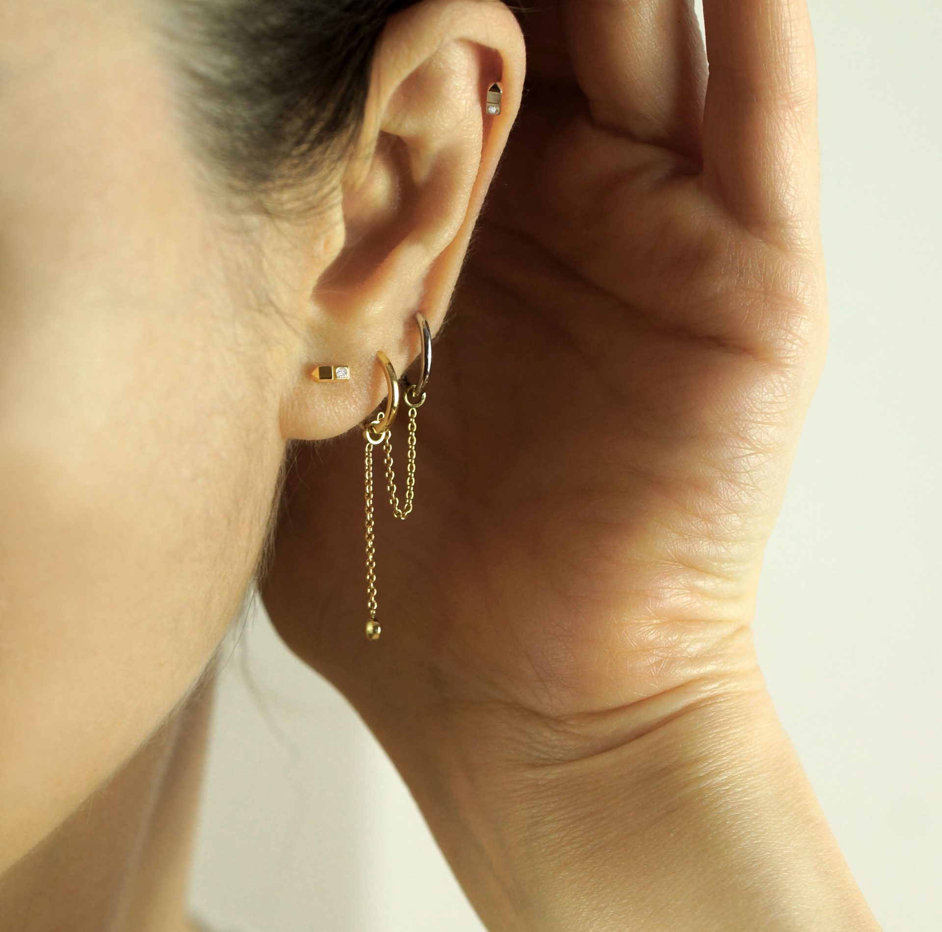 What type of jewellery should you buy for a curated ear? unisex piercing jewellery 18k gold diamonds men women ear piercings helix earrings lena cohen
